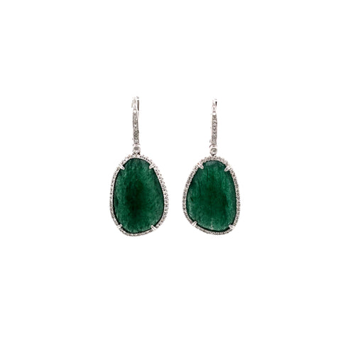 14K White Gold Green Agate Slice & Diamond Drop Earrings