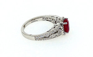 14K White Gold Oval Ruby and Diamond Halo Vintage Style Ring