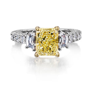 Custom Made Vivid Fancy Yellow Diamond Ring