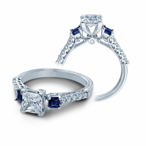 Verragio Classic V-904-P5.5 Three Stone Diamodn & Sapphire Engagement Ring
