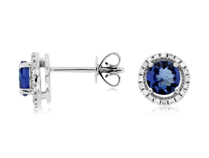 14K White Gold Tanzanite and Diamond Halo Stud Earrings