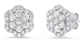 Sterling Silver Cluster Flower Cubic Zirconia Stud Earrings