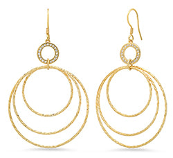Sterling Silver Gold Plated Multiple Circle Dangle Earring With Cubic Zirconia
