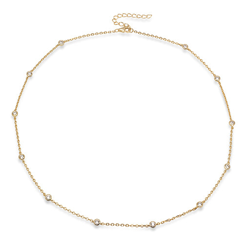 Sterling Silver Yellow Gold Plated Cubic Zirconia By The Yard Necklace