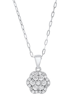 Sterling Silver Cluster Flower Cubic Zirconia Necklace