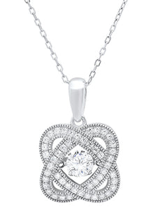 "Sterling Silver Cubic Zirconia Pave & Milgrain Necklace on 18"" Cable Chain"