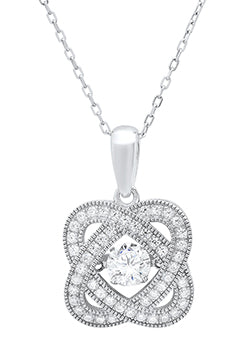Sterling Silver Cubic Zirconia Pave & Milgrain Necklace on 18