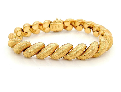 18K Yellow Gold Solid San Marco Bracelet with Satin Finish 7