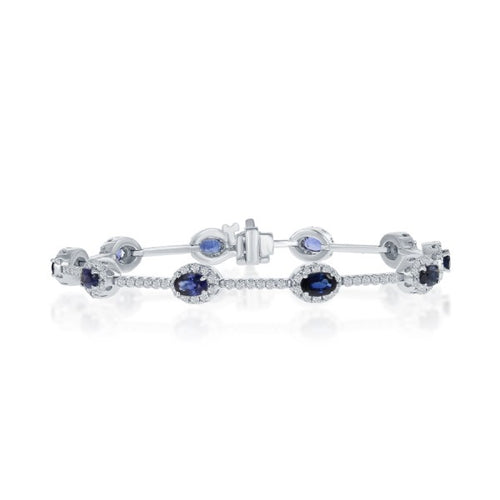 14K White Gold Oval Sapphire & Diamond Tennis Bracelet