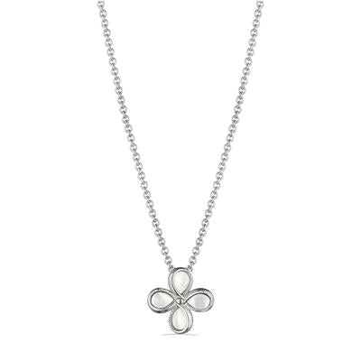 Judith Ripka Sterling Silver Mother Of Pearl Floral Jardin Pendant Necklace