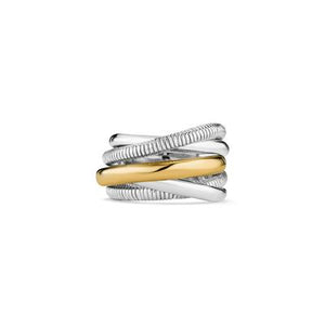 Judith Ripka Sterling Silver & 18K Yellow Gold Five Strand Highway Eternity Ring