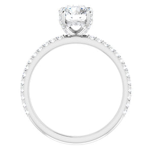 14K White Gold Round Solitaire Diamond Engagement Ring with Side Halo