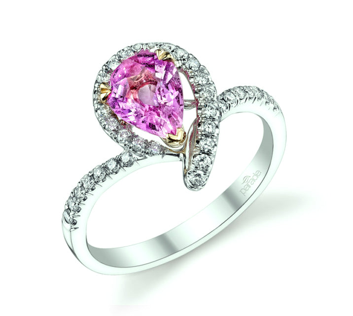 18K White Gold Pear Shape Pink Sapphire & Diamond Ring