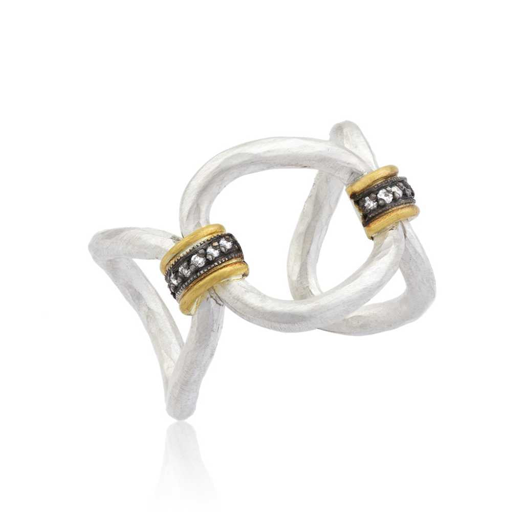 Lika Behar Sterling Silver Open Ring with Diamond Accents Set in 24K Gold & Oxidized Sterling Silver