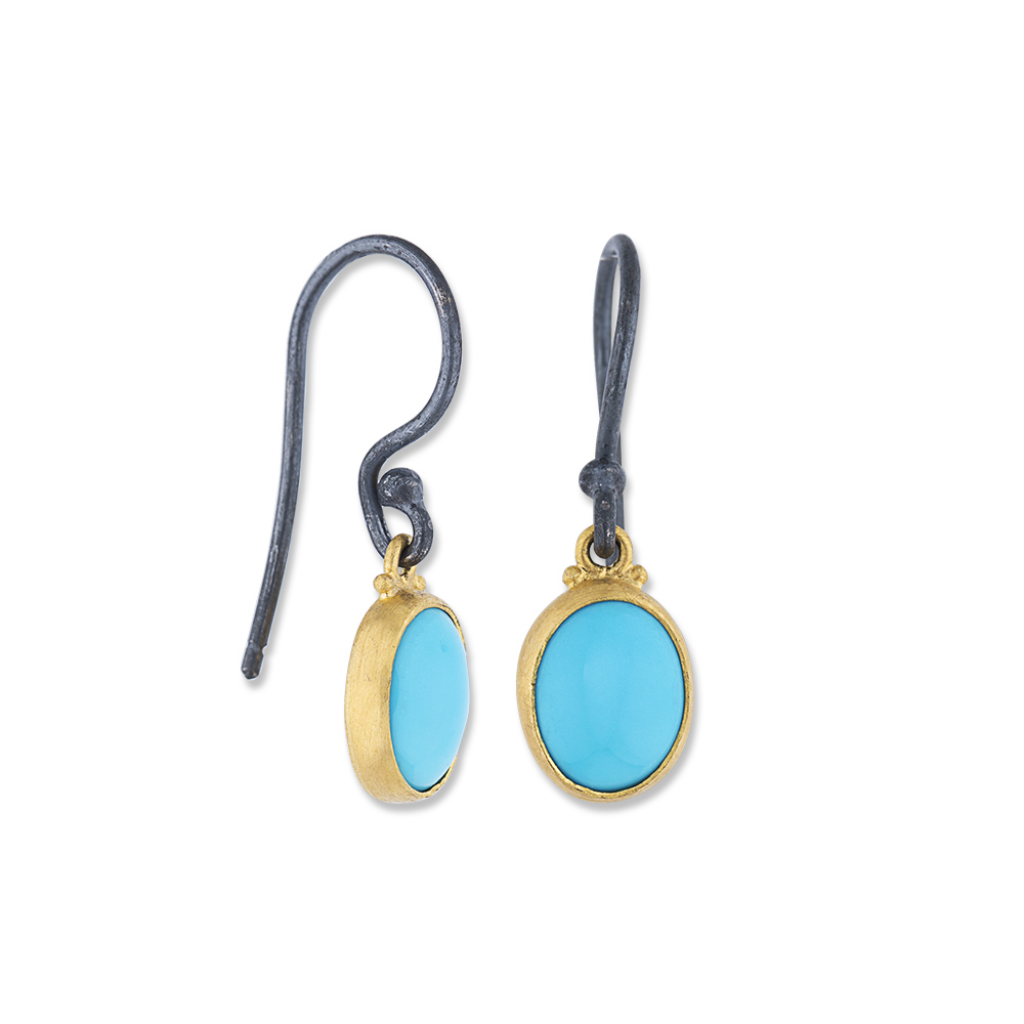 Lika Behar 24K Gold & Sterling Silver Sleeping Beauty Turquoise Drop Earrings