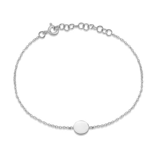 14K White Gold Circle Disc Bracelet
