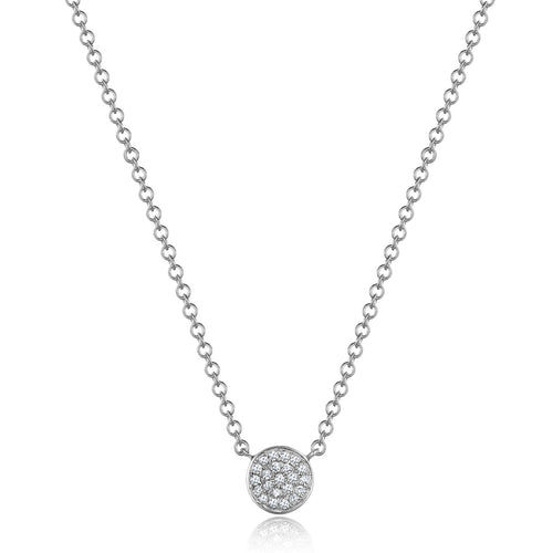 14K White Gold Small Diamond Disc Necklace