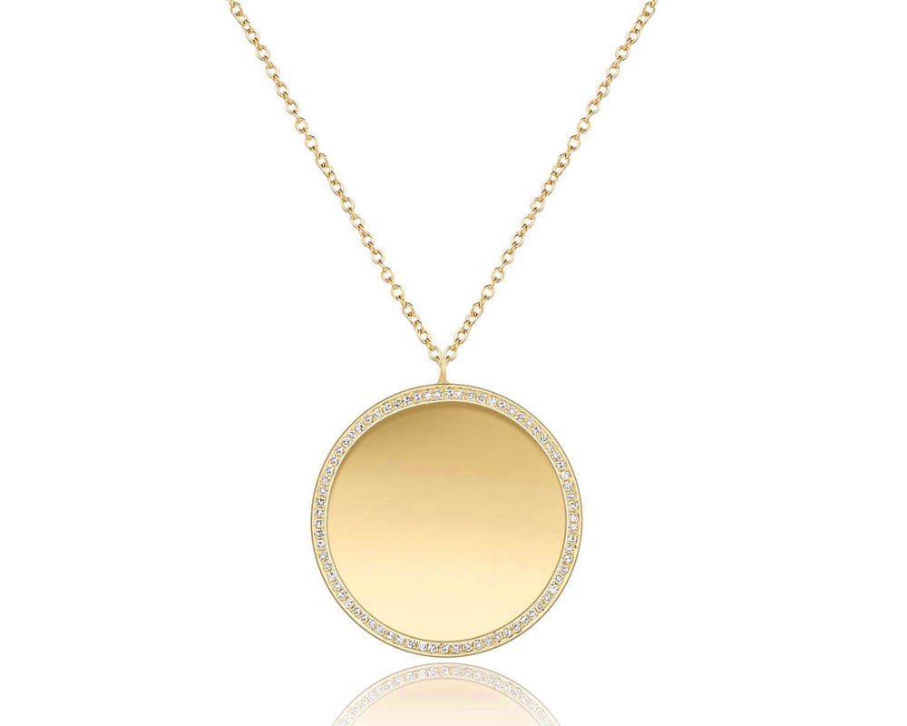 14K Yellow Gold Circle Disc with Diamond Edge Necklace