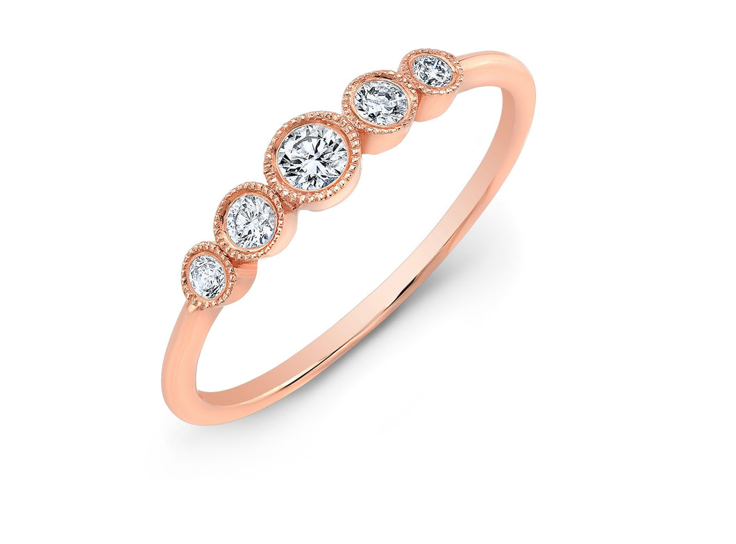 14K Rose Gold Five Stone Bezel Ring