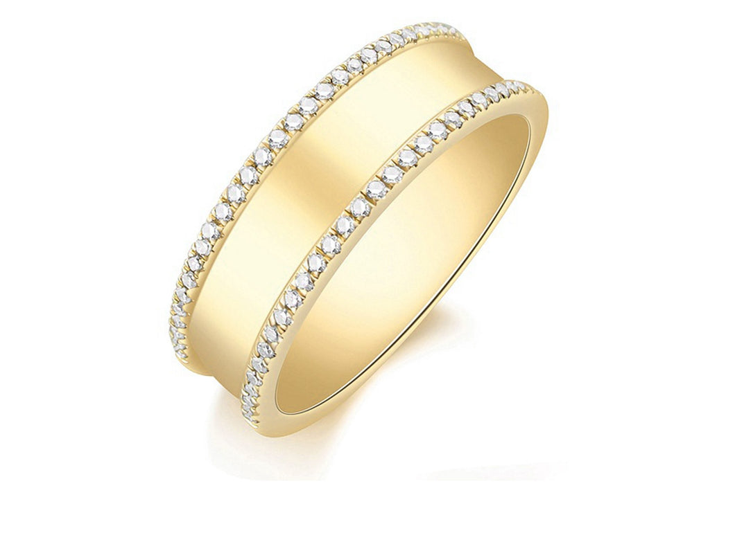 14K Yellow Gold Wide Band with Pave Diamond Edges