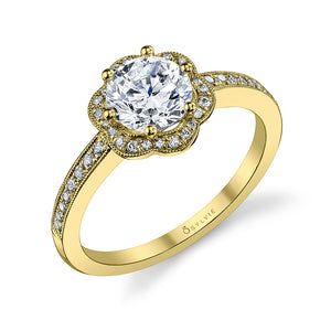 Sylie S1085 Lilian - Flower Halo Engagement Ring
