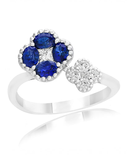 18K White Gold Sapphire & Diamond Floral Bypass Ring