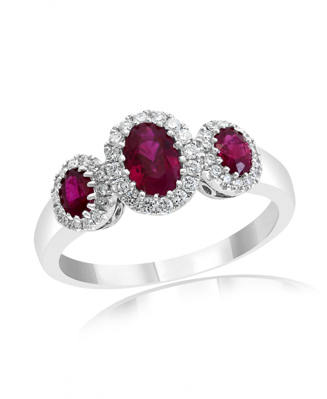 14K White Gold Ruby & Diamond Halo Three Stone Ring