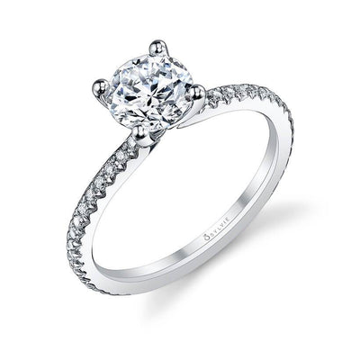 Sylvie Adorlee - Round Solitaire Engagement Ring S1093