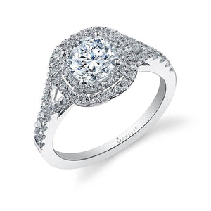 Sylvie Rose - Round Double Halo Engagement Ring S1100