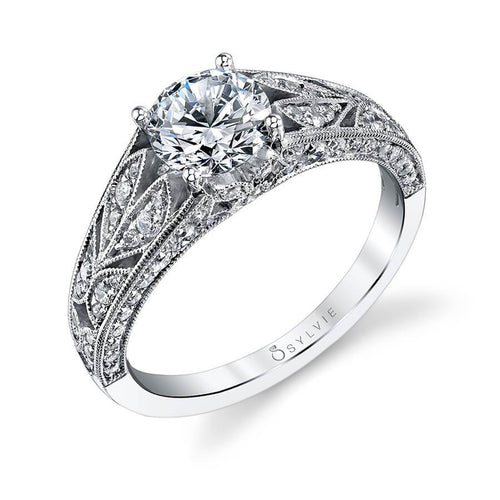 Sylvie Ruth - Vintage Hand Engraved Floral Engagement Ring S1206