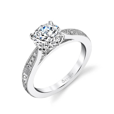 Sylvie Holly - Hand Engraved Solitaire Engagement Ring S1386