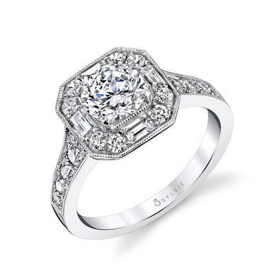 Sylvie Flora - Vintage Engagement Ring with Floral Inspired Halo S1396