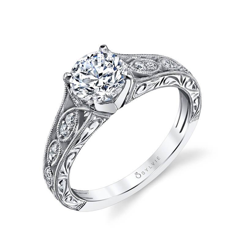 Sylvie Justeen - Hand Engraved Vintage Inspired Engagement Ring S1414