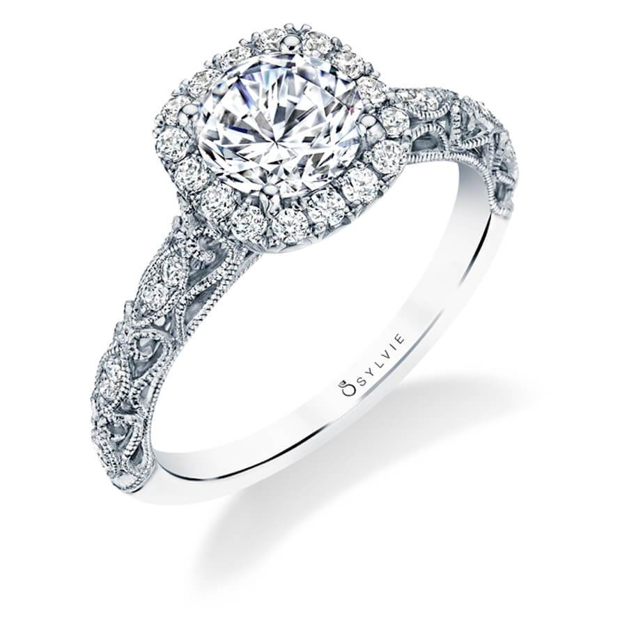 Sylvie Lorelei - Unique Halo Engagement Ring S1730