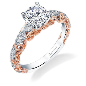 Sylvie Noa - Vintage Inspired Two Tone Engagement Ring S1761