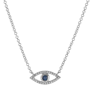 "14K White Gold Diamond & Sapphire Evil Eye ""Protection"" Necklace"