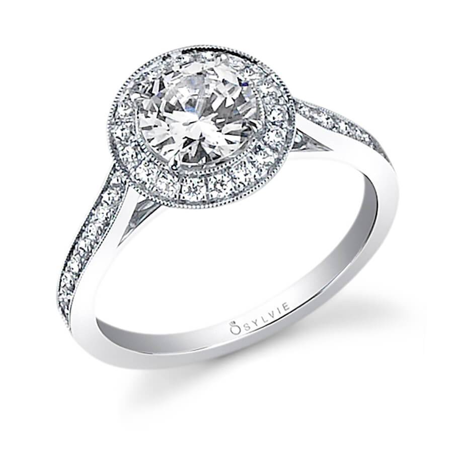 Sylvie Yvette - Classic Round Engagement Ring with Halo SY310