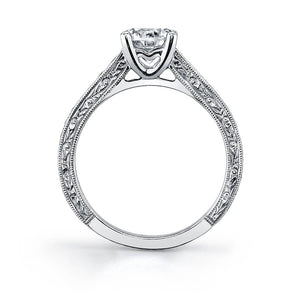 Sylvie Desirae SY886 - Round Hand Engraved Engagement Ring