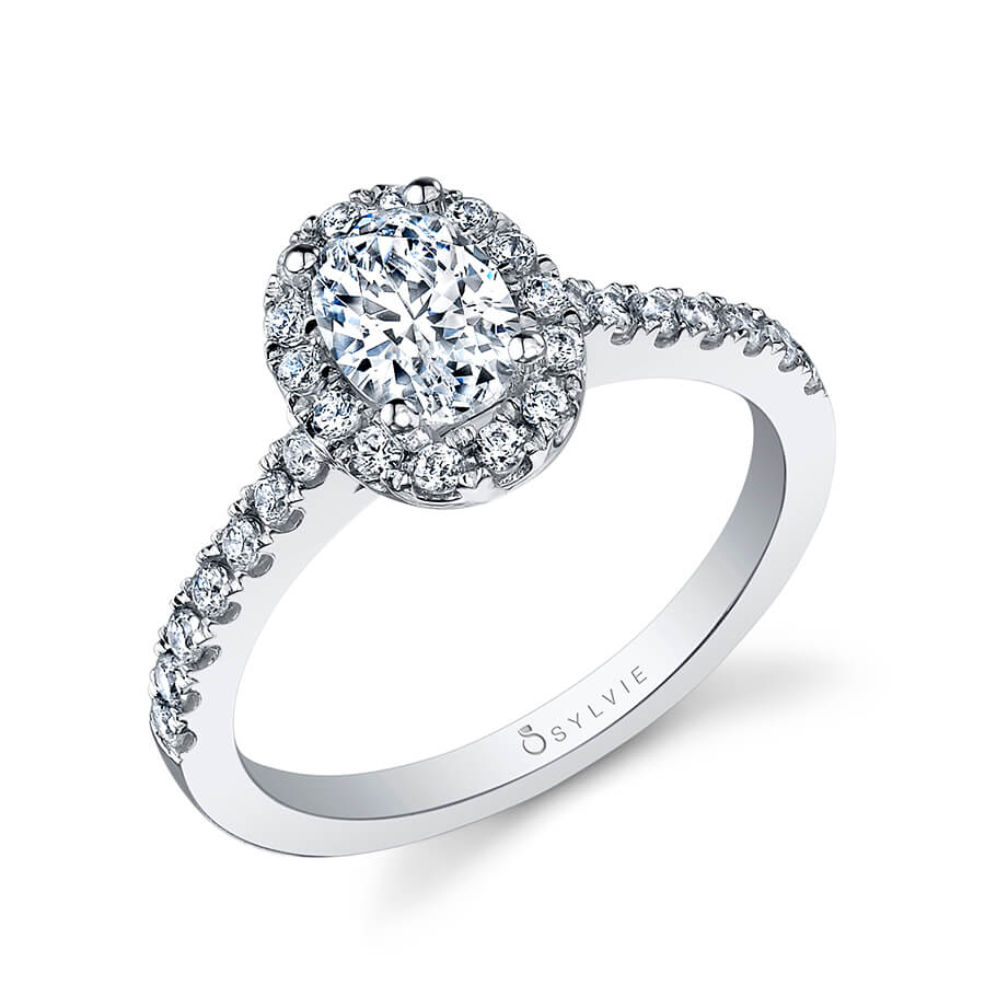 Sylvie Chantelle SY999 - Oval Engagement Ring With Halo