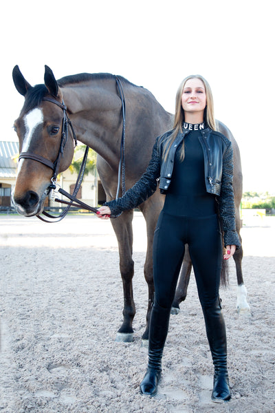 Queen Equestrian QUEEN Riding Leggings with High-Waisted Tummy Control WaistBand