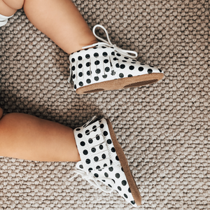 Sonny Polka Dot Spot Fringed Leather Moccasins