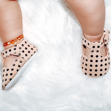 Load image into Gallery viewer, Clemmie Polka Dot Cream Leather Mary Jane Girls Shoes