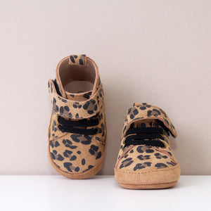 Buddy Tan Leopard Print Leather Trainers Shoes