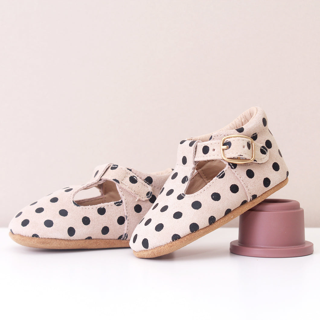Clemmie Polka Dot Cream Leather Mary Jane Girls Shoes