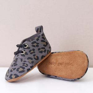 RIVER GREY LEOPARD PRINT UNISEX OXFORDS