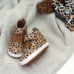 Jagger Tan Animal Print Unisex Trainers