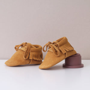Marley Tan Suede Leather Fringed Unisex Moccasins Shoes