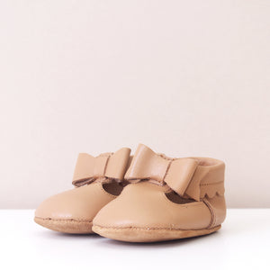 Winnie Tan Bow Moccasins Girls Shoes