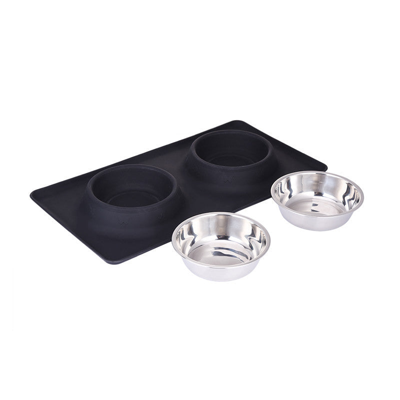 Pet Feeder Stainless Steel Double Bowl comedero Travel Water Bowl Non-Skid Silicone Mat For Pet Dog Cat