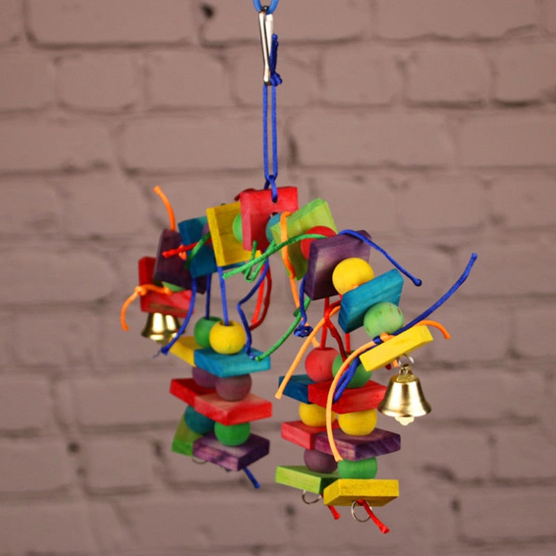 Parrot Bird toy Colorful Wood Block beads Chew toy Hanging Swing toys